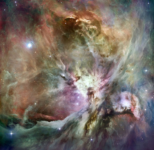 HST Orion nebula image composited with a Spitzer image.