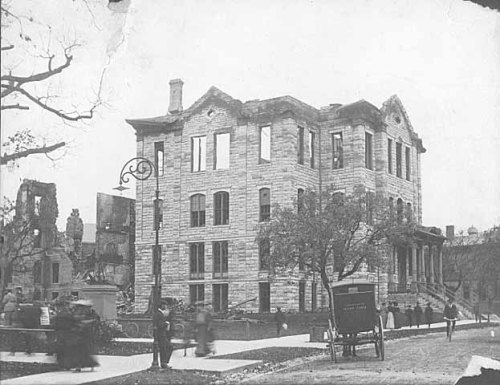 stuffaboutminneapolis:  This Day In Minneapolis History - Old Main ruins after the fire on September 24, 1904 Old Main The University's first permanent building, Old Main, was erected in 1858 in the area now known as the knoll. Six months after Old Main opened in 1858, hard economic times after the Panic of 1857 and the impending Civil War forced the school to close. Old Main became a refuge for squatters. A legislative committee that visited the building found a family living in it. The family became surly at having their privacy invaded. Turkeys were in one room, hay in another, and wood-splitting had ruined the floor in the central hall. In 1867 the legislature voted $15,000 to repair the building and begin instruction in it. The governor signed this act, reorganizing the University, in February 1868. Old Main was destroyed by fire Sept. 24, 1904. A plaque in front of Shevlin Hall on Pillsbury Drive marks the site of Old Main's front door. Photo via the Minnesota Historical Society, information found at University of Minnesota website.  Here are two drawings of Old Main from our Minneapolis Photo Database. 1879 1886