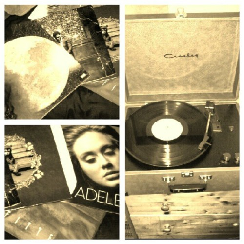 mismartinez:  Rambo's bday gift #adele #kidcudi #kanyewest #records (Taken with Instagram)