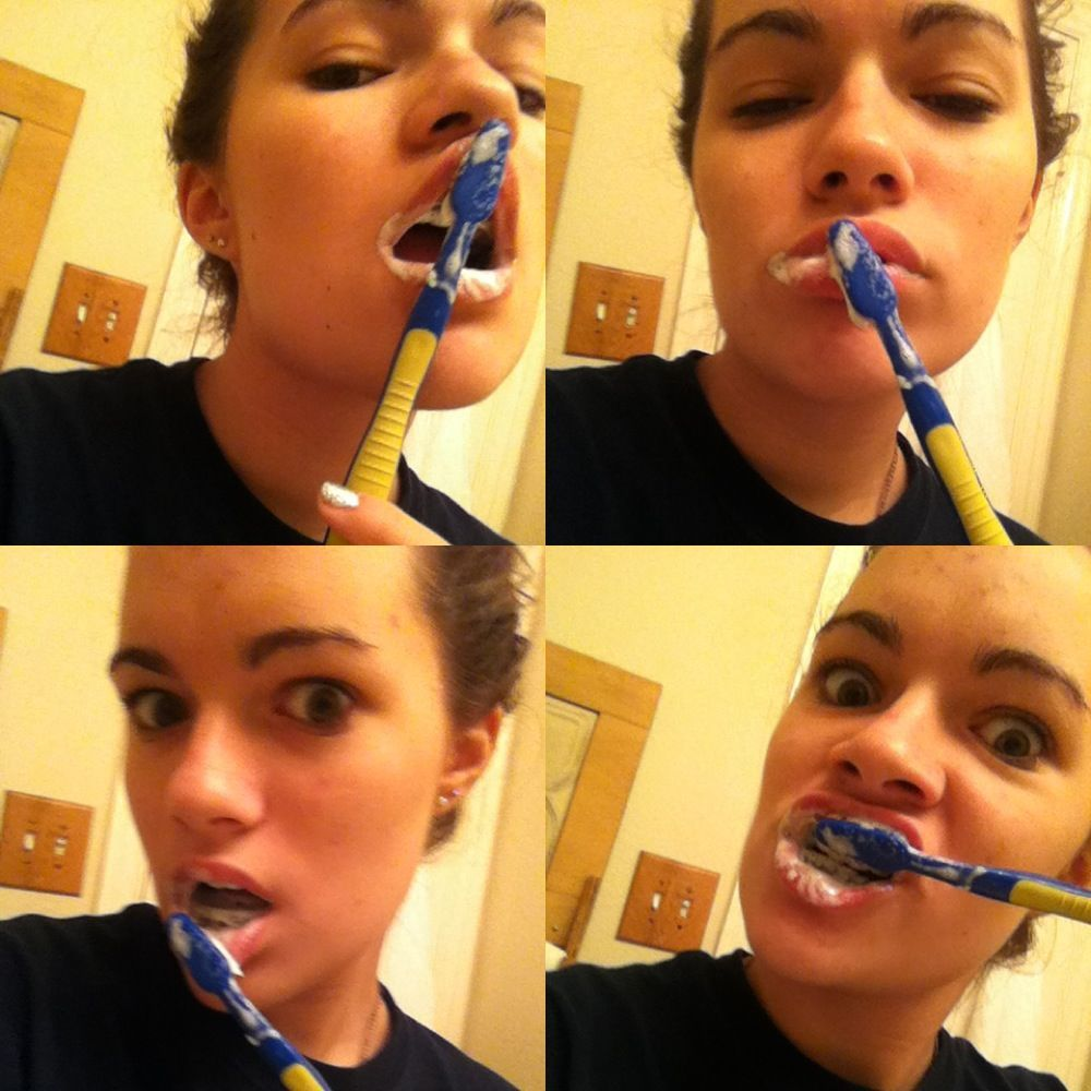 photoset of me brushing my teeth