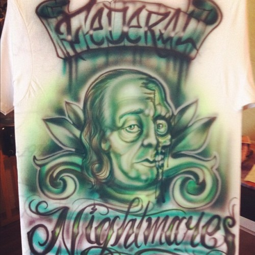 Airbrushed this shirt the other day. Almost forgot how to do this lol #airbrushing #custom # FirstLove (Taken with Instagram)
