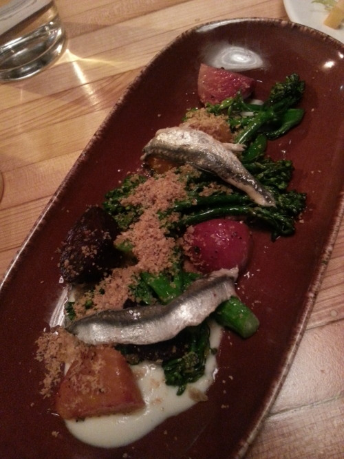 Baby Beets with broccolini, anchovies, and fennel at West Bridge, Cambridge.