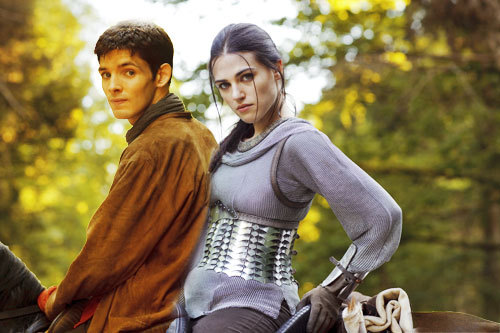 Merlin and Morgana on a horse together.