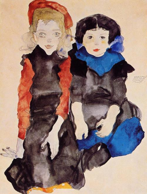 bombaim:  Two Little Girls, 1911, Egon Schiele