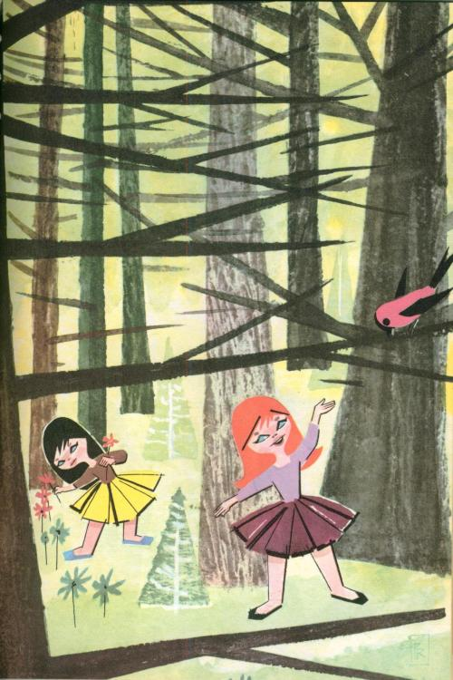 "Snow White and Rose Red by Grimm, retold by Maxine S. Morris, illustrated by Pablo Ramirez When their work was finished, they would hurry out to the woods to play with their animal friends. ""I have a cabbage leaf for you, Mr. Rabbit,"" Snow White would say sweetly."
