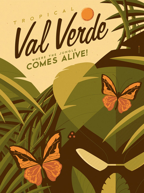 "val verde travel poster from ""around the world in an 80's daze"", my 2-man show with dave perillo at gallery 1988: venice. show opens 9/28/2012."
