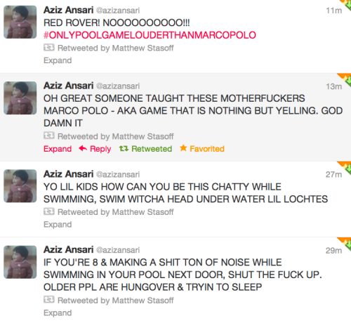 *Aziz Ansari is being hilarious on twitter