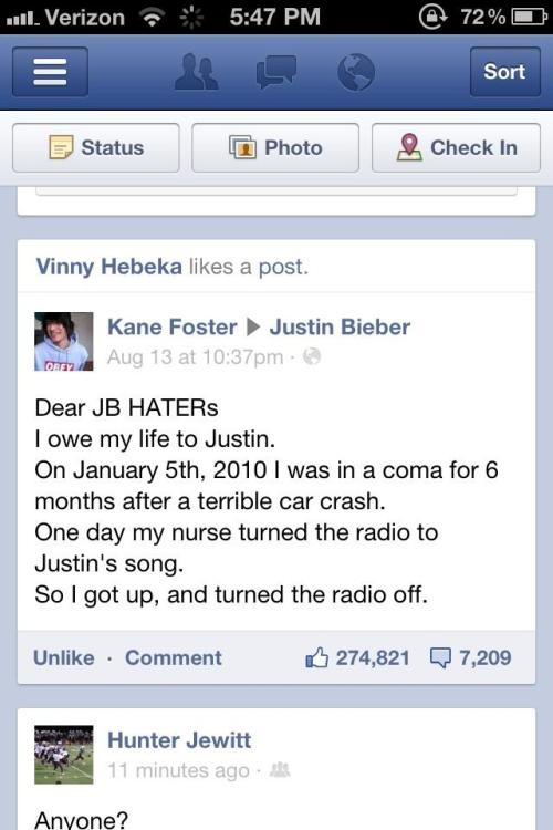 Message aux haters de Justin Bieber.