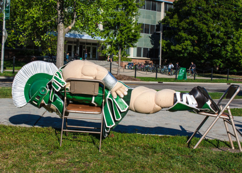 Sparty planking at his 23rd birthday party celebration at the MSU Rock.
