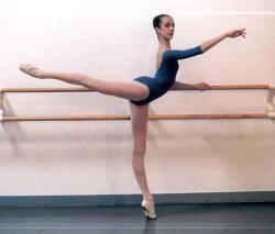 perfect arabesque, hips down and square, leg up, back straight ..geez