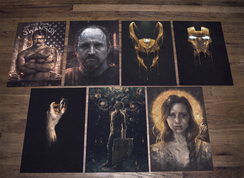 "samspratt:  GIVEAWAY! 2 SIGNED PRINTS OF YOUR CHOOSINGI'd like to give one of you, two prints of your choosing. Just like/reblog the image and I'll select a winner at random on Monday, then ship it out (worldwide) right after.Pictured: Gilded I and II, Study in Scotch, United States of Swanson, Curious Night, Louis CK, and Katniss. Also available (not pictured but also available for choosing are Golden Age, Eaten, Gilded III, and Ian Mckellen). All prints are 13""x19"" on velvet archival paper. Visitwww.samspratt.com if you'd like to see them in more detail.  Oh Tyche, goddess of good fortune and luck, look favorably upon me so that I may win that Katniss print and probably also the Ron Swanson one"