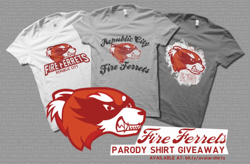 rachaelmakesshirts:  Fire Ferrets Parody Shirt Giveaway! Enter for a chance to win any of these three Fire Ferrets parody shirts in my Avatar parody shirt collection! How To Win:1. Follow RachaelMakesShirts on Tumblr2. Reblog this post as many times as you like to improve your odds and mention why you want to win3. Keep you ask box open - this is how I will contact the winner! Everyone is eligible! Deadline:The winner will be chosen via a random number generator and notified on October 3rd at 6PM EST. I will contact the winner through their Tumblr Ask Box, so make sure yours is open. If the winner does not respond within 72 hours, then I will choose another winner.  I need to support my team!