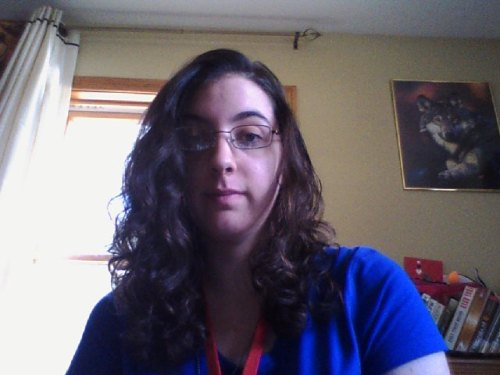 alphashewolf234:  This is what happens when I let me hair air dry and take a nap right after taking a shower and brushing it when it's wet lol. Curly fluffy hair! Haha if I brush it it will just be a puff ball so I'm gonna leave it alone :P Haha going to work soon, oh joy 0.0 So don't want to :P Anyway, adios tumblr, till later all you lovely people ~Wolf signing off