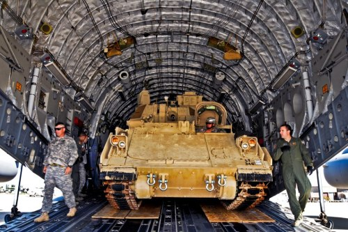 M32 Bradley fighting vehicle in a C-17's cargo bay