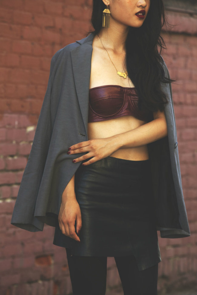In My Air Leather Leather Balconette Bra | Kahlo Pioneer Jacket + Penny Arcade Leather Skirt + AK Vintage Necklace + Earrings (image:  lavagabonddame)