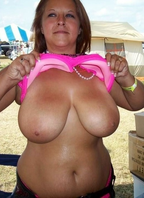 Mature women flashing big tits