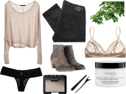 evvaporate:  Soft by fashioncontagion featuring philosophy Brandy Melville knit top / Vivienne Westwood Anglomania black skinny jeans, $170 / Elle Macpherson Intimates / Cosabella / AllSaints leather boots / NARS Cosmetics / philosophy / Beauty product