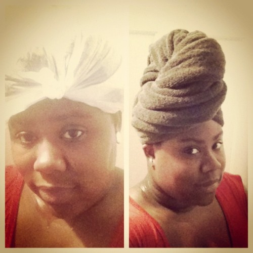 Ain't no shame in rockin' a plastic baggie for your #naturalhair! By any means necessary, #teamnatural gets it done! LMBO #picstitch (Taken with Instagram)