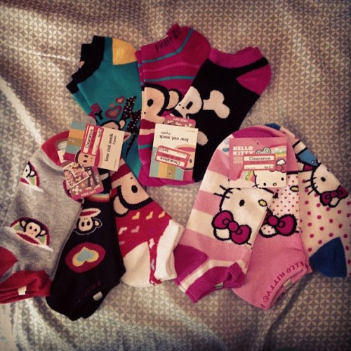 My #target #clearance finds for the #weekend #paulfrank and #hellokitty #socks #shoppingaddict  (Taken with Instagram)