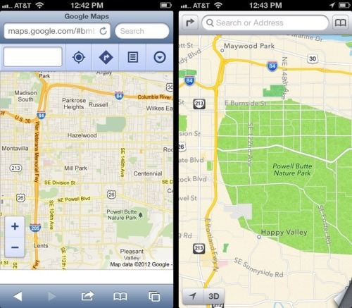 theamazingios6maps:  Apple thinks that much of the east side of Portland, Oregon is a nature park  Well, Portland *is* awfully green, so maybe …