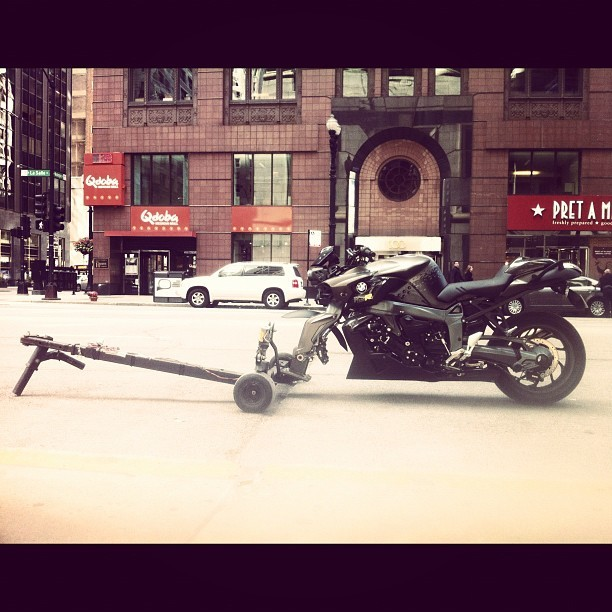 The motorcycle dolly: essentially equipment for any aspiring filmmaker.  (Taken with Instagram)