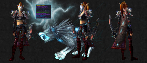 amaketsu:  There's a new lightning wolf model available in MoP that isn't a spirit beast OR a rare. Words can express my excitement. So, I did what I always do, I based a transmog set after it. Thoughts?  perfect as always!