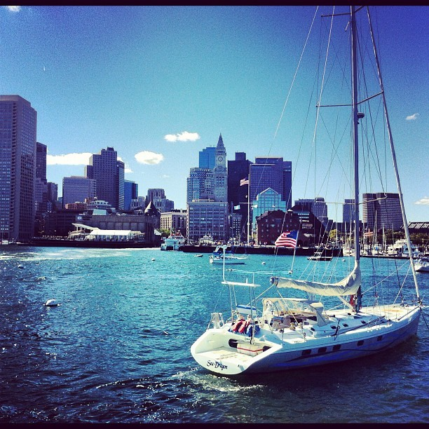 And now, how about some time on the water? #bostonharbour #bostonskyline #boston  (Taken with Instagram at Boston Harbor)