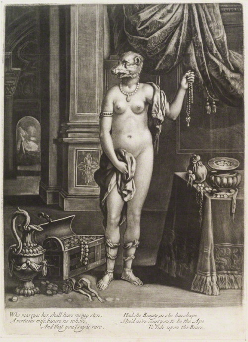 """Naked woman with head of a bear"" engraving possibly published by John Smith, after Unknown Artist mezzotint, ca.1680-1690"