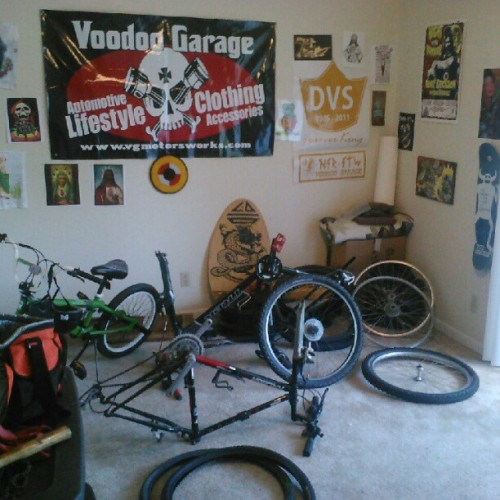 While you watch foozeball this is my relaxing Sunday… its bike city in my den… can't wait till next month and I move downstairs and can roll the chopper in through the patio.  (Taken with Instagram)