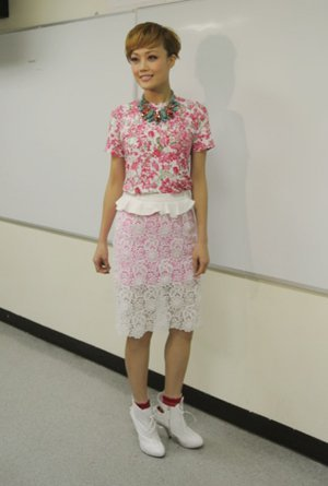 Joey Yung in Hong Kong wearing a Flaminia Saccucci T-shirt