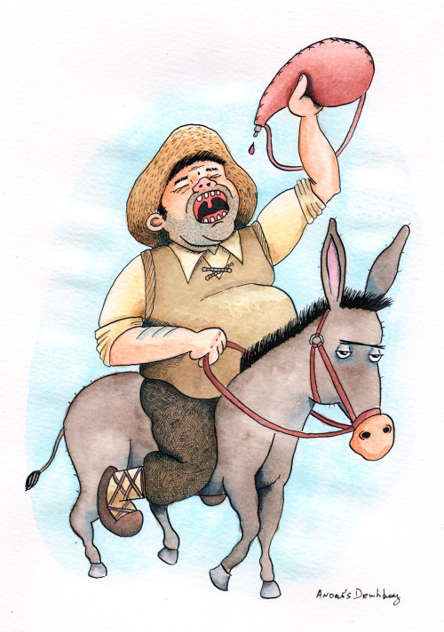 "S is for Sancho Panza My Alphabooks entry for this week is Sancho Panza with is donkey Rucio, a character from the novel ""El ingenioso hidalgo don Quijote de la Mancha"" (""The Ingenious Gentleman Don Quixote of La Mancha"") by Miguel de Cervantes. Sancho is Don Quixote's faithful companion and squire throughout the the novel."