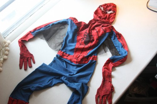 The very first Spider-Man personal appearance costume commissioned by Marvel circa 1968. This was work by Roy Thomas for at least one Bullpen photo shoot, and used for Spidey personal appearances into the early 1970s.