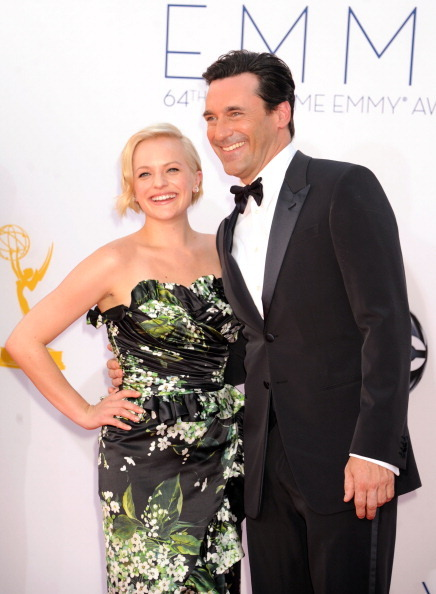 Elisabeth Moss & Jon Hamm - 2012 Emmys Elisabeth's dress is a disaster, but I enjoy that pale blonde on her!