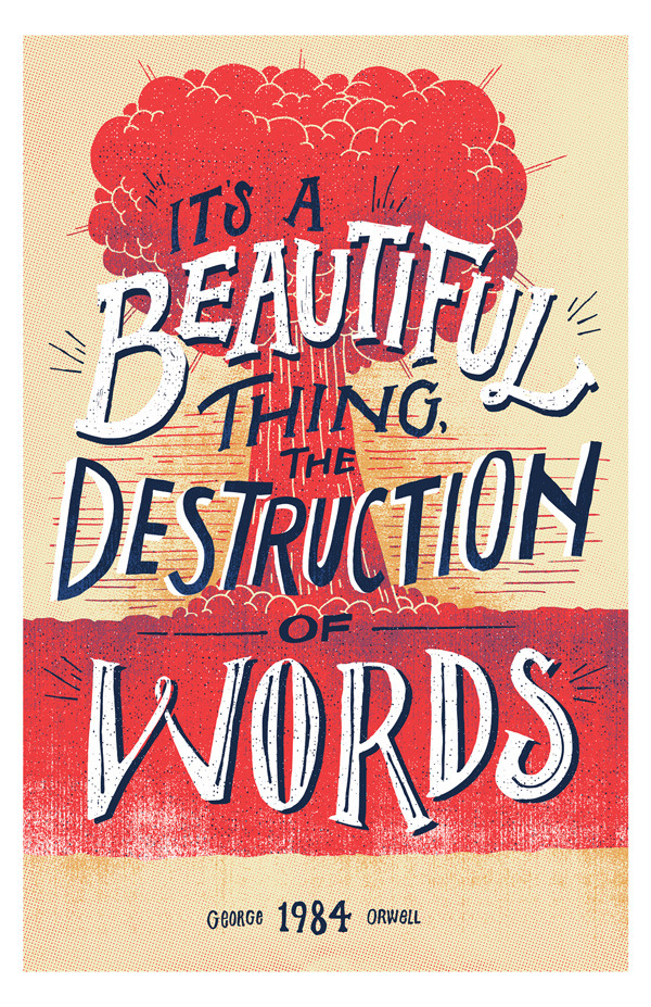 "superpreciousgallery:  ""Destruction of Words""Vaughn Fender, CTvaughnfender.com, @vaughnfender11"" x 17"" Edition of 4, $25 +$5 shipping (in the US)  Super Precious Art Gallery is showing a current exhibit entitled ""20th Century American Authors."" Which one's your favorite of the bunch?"