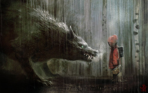 artmonia:  Red Riding Hood by Manuhell  little girl's little puppy