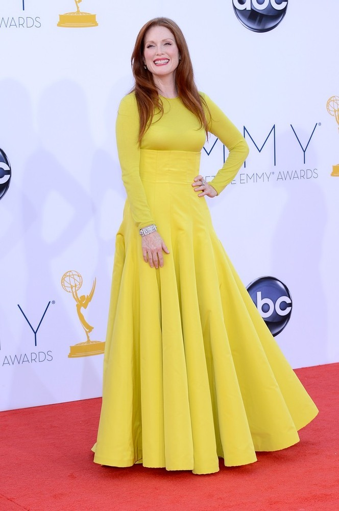 Julianne Moore in Dior at the 2012 Emmys, September 23rd Redhead in this beautiful yellow Dior!