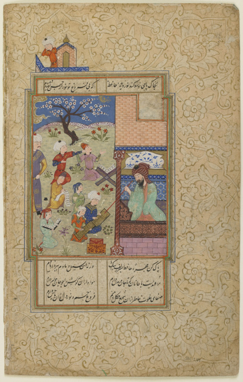 timur-i-lang:  Folio from a Divan (collected poems) by Hafiz: Layla and Majnun at School Iran, Turkoman period, circa 1490