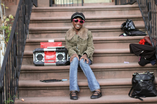"humansofnewyork:  This girl was smart as a whip. When I walked by, she was MOVING to the music—hands up, head nodding, shoulders swinging. I really wanted to take her photo, so I walked up to the nearest adult and asked: ""Does she belong to you?"" Suddenly, the music stopped, and I heard: ""I BELONG TO MYSELF."""