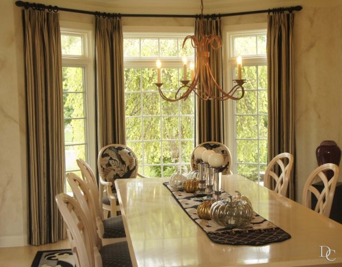 A dining room with coordinating draperies and upholstery.  Love this warm & elegant color palette, designed by Marcia Pedersen. xxDC