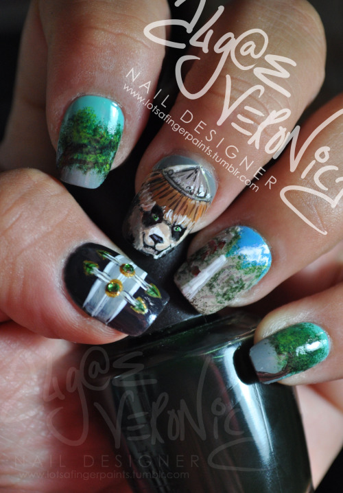 lotsafingerpaints:  Nail art- In honor of the World of Warcraft: Mists of Pandaria launch. I'm pumped! ^_^