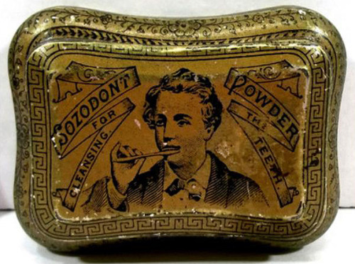Sozodont Tooth Powder tin, Ginna & Co., c. 1880 (Antiques Navigator)