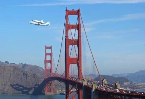 The Space Shuttle Endeavour flying over the Golden Gate Bridge on Sept 21, 2012.  It was a huge treat for everyone in the San Francisco Bay Area.