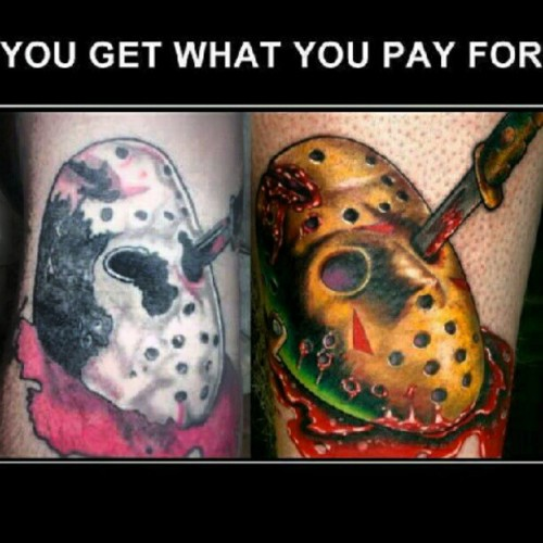 #yougetwhatyoupayfor #tattoos #instaink #ink #jason #halloween #scarymovies #masks #blood #money #badtattoos (Taken with Instagram)