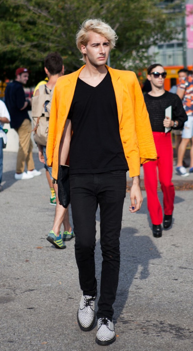 traitornewyork:  Acne bright blazer #nyfw  Apparently Ric Flair had a child with even more questionable taste than his own.