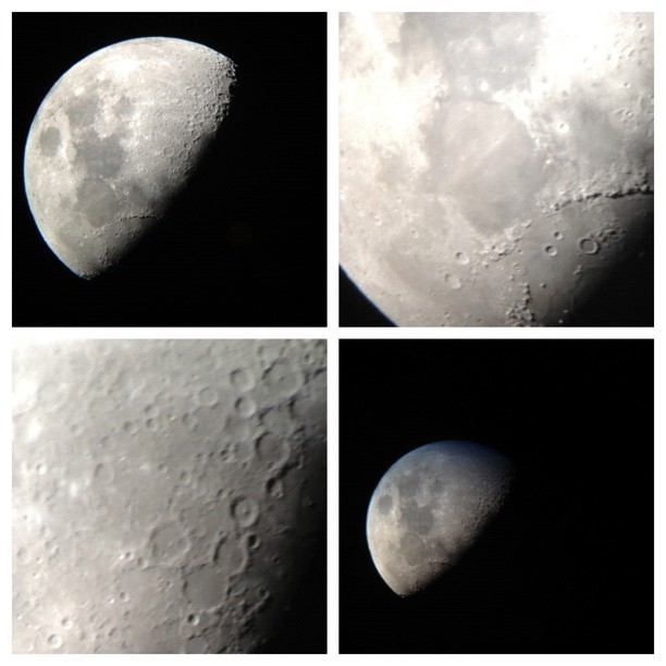 Waxing gibbous moon in Capricorn. Photos taken with my phone looking into my telescope lens!! (Taken with Instagram)