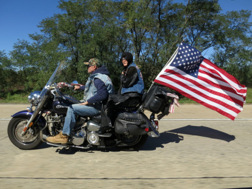 American bikers on I-495. Wilmington, DE. September 23, 2012.