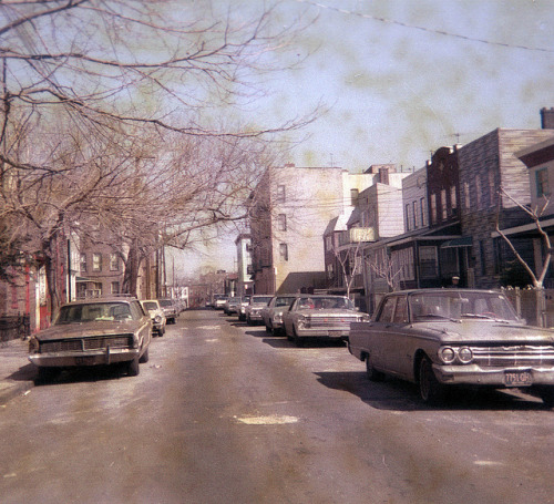 retronewyork:  McKinley Street in Brooklyn with lots of battered 1960s cars parked. New York. 1972 by wavz13 on Flickr.