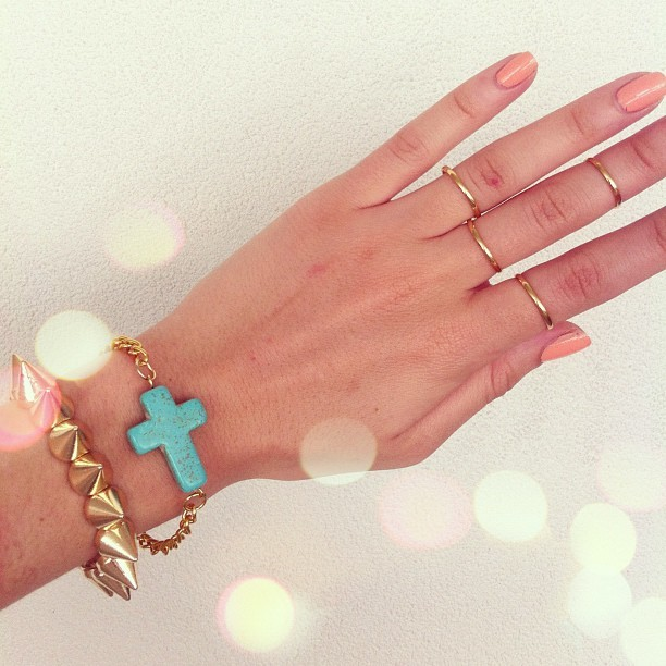 These adorable Turquoise Cross bracelets are now in stock! Thin gold rings also available now at saboskirt.com #saboskirt  (Taken with Instagram)