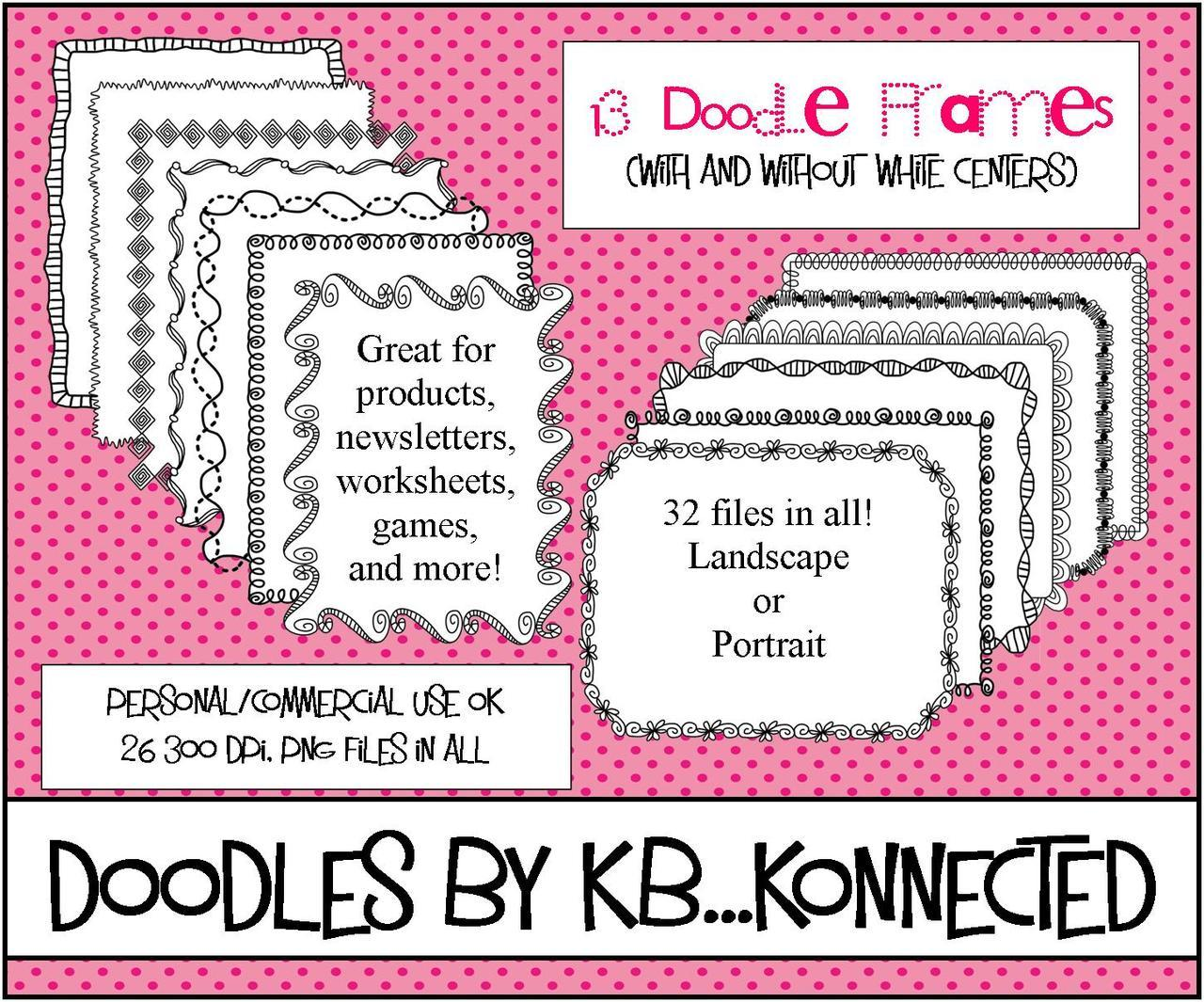 Fun Doodle Frame Collection #TpT #frames  Not all shown. Love my iPad! I had so much fun creating this Doodle Frame Collection. It includes 32 png files (300dpi). 13 frame designs with and without white centers and loops. Personal and commercial use friendly. Perfect for your products, newsletters, labels, games, classroom decor, worksheets, etc.  You may also like…     Please stop by my TpT store and check them out!