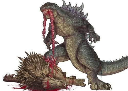kaijucast:  Wow… a bit gory, but kind of rad. I could do without the Zilla-esque curvature to the spines, though.